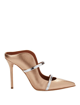 Maureen Double Strap Gold Mules
