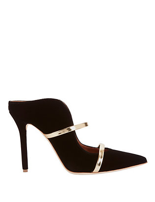 Malone Souliers Maureen Double Strap Velvet Mules