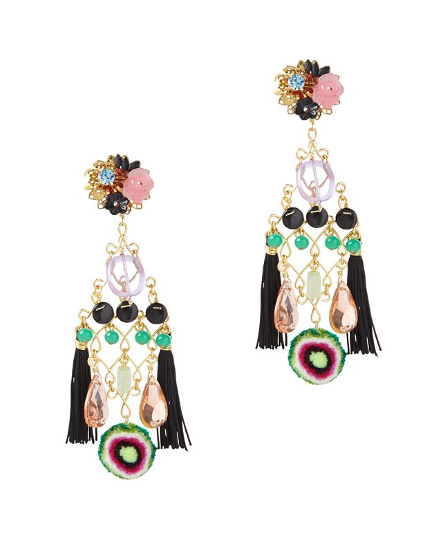 Mercedes Salazar Double Fringe Earrings: Black Multi