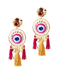 Mercedes Salazar Tassel Fringe Circle Earrings