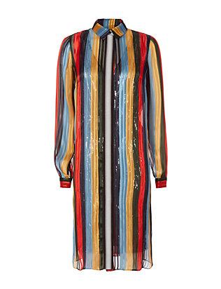 Sequin Underlayer Striped Blouse
