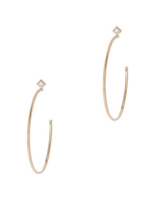 Princess Diamond Medium Hoop Earrings