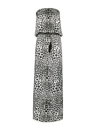 Marie France Van Damme Animal Print Strapless Maxi Dress