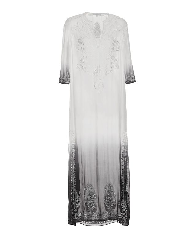 Marie France Van Damme Embroidered Ombre Long Caftan: Silver