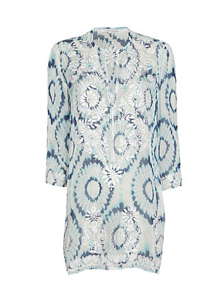Marie France Van Damme Embroidered Floral Tunic