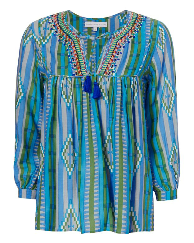 Christophe Sauvat Miami Print Embroidery Blouse