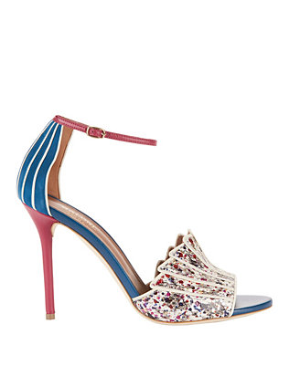 Malone Souliers Minnie Splatter Paint Snakeskin Sandals