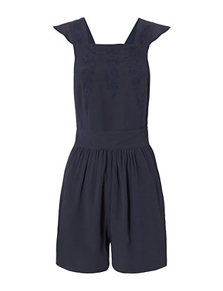 Intropia Ruffle Top Romper: Navy
