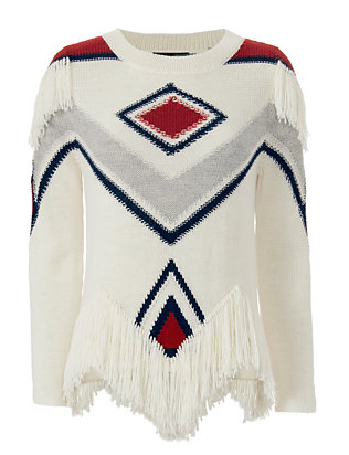 Antik Batik Fringe Trim Intarsia Pull Over Knit