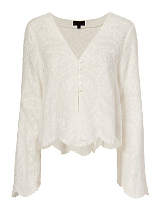 Exclusive for Intermix Caroline Embroidered Bell Sleeve Top