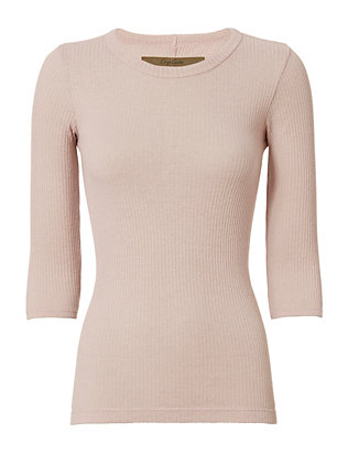 Enza Costa Three-Quarter Sleeve Ribbed Knit