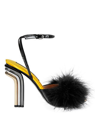 Marco De Vincenzo Maraboo Feather Chrome Heel Patent Leather Sandal
