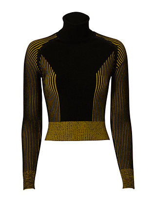 Crop Knit Turtleneck: Black/Yellow