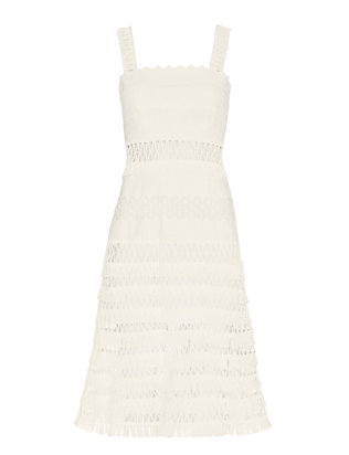 Jonathan Simkhai Macrame Band Midi Dress: White