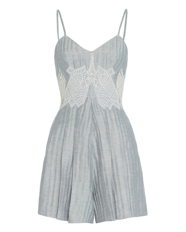 Jonathan Simkhai Lattice Pleated Romper