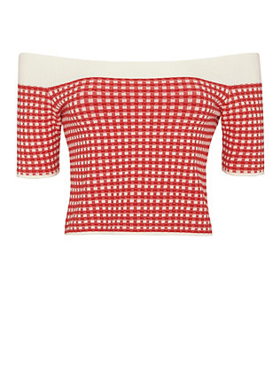 Jonathan Simkhai Gingham Off The Shoulder Knit