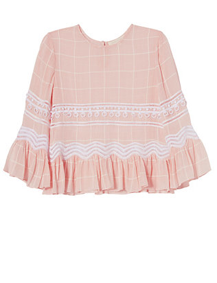 Jonathan Simkhai EXCLUSIVE Voile Grid Embroidery Top: Pink