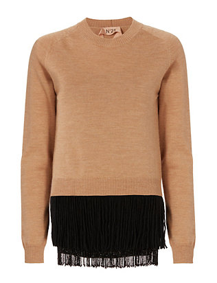 Beaded Fringe Hem Sweater