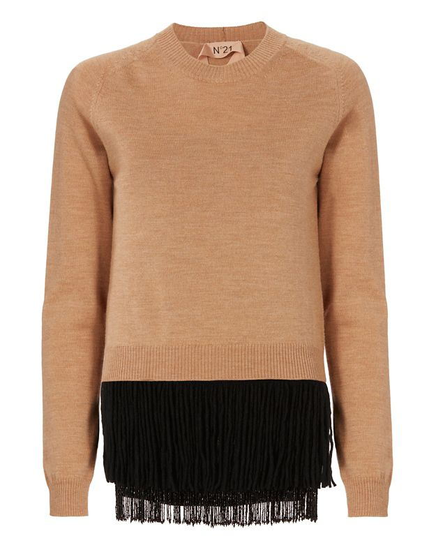 No. 21 Beaded Fringe Hem Sweater