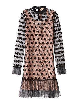 Star Organza Lace Mini Dress
