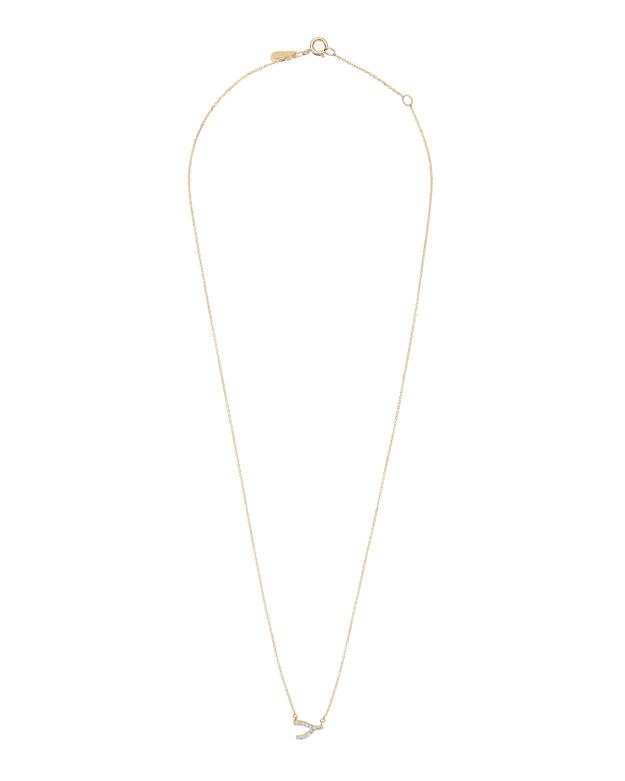 Adina Reyter Pavé Diamond Wishbone Necklace