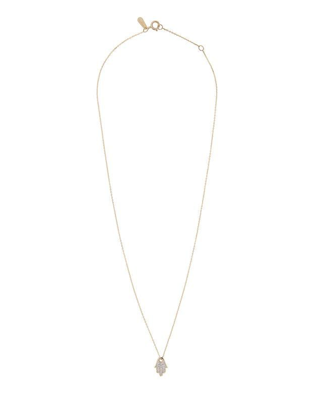Adina Reyter Pavé Diamond Hamsa Necklace