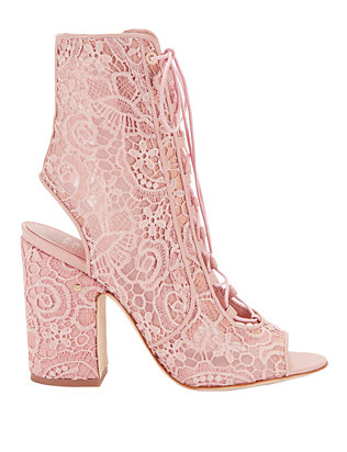 Nelly Pink Lace Booties