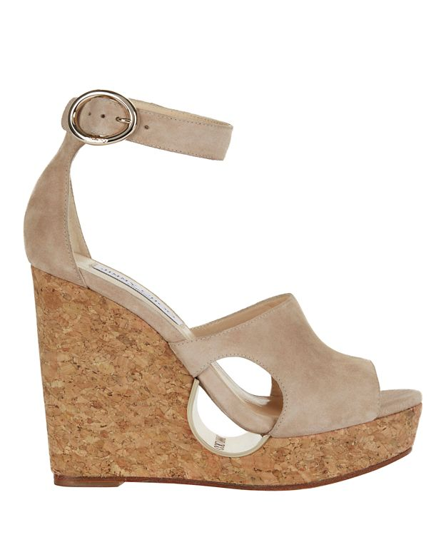 Jimmy Choo Neyo Circle Cut Out Suede Wedges