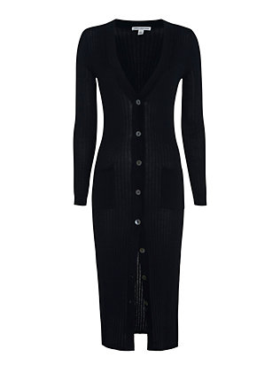 Autumn Cashmere Ribbed Maxi Cardi: Navy