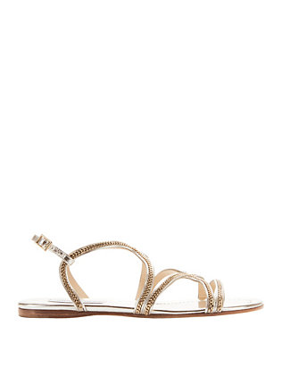 Jimmy Choo Nickel Strappy Flat Sandals