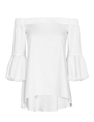 Nicholas Off The Shoulder Frayed Detail Blouse