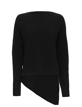 Brochu Walker Ribbed Asymmetric Sweater: Black