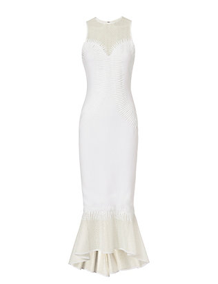Contoured Mesh Trumpet Hem Dress: White