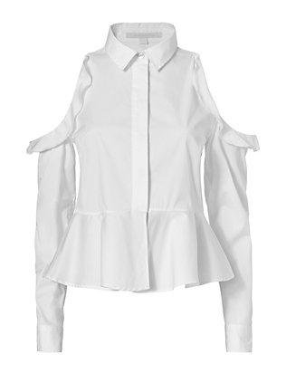 Ruffled Poplin Shirt: White