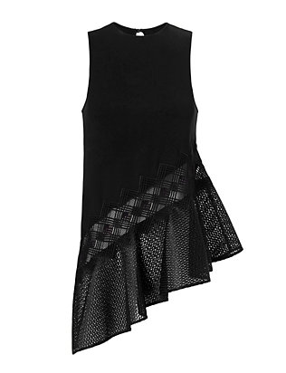 Jonathan Simkhai Diamond Mesh Asymmetric Top: Black