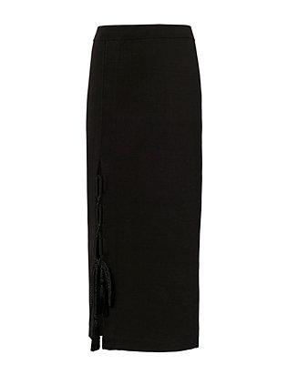 Tassel Lace-Up Knit Pencil Skirt
