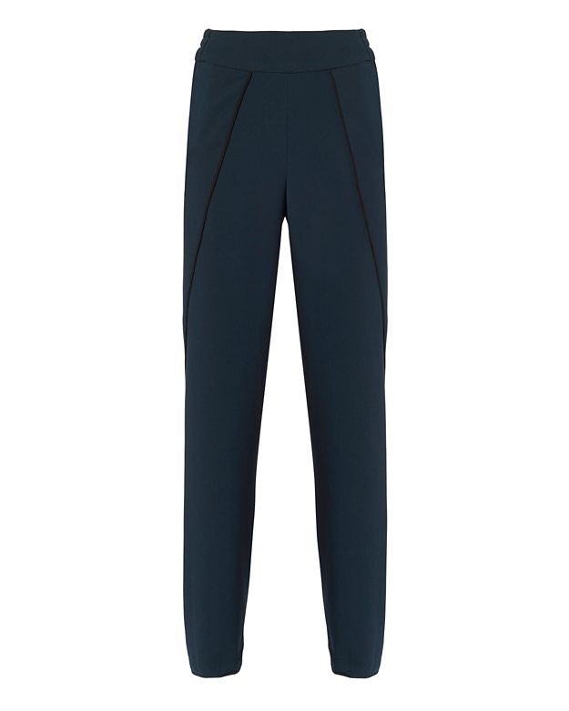 Jonathan Simkhai Side Slit Crepe Pants: Navy