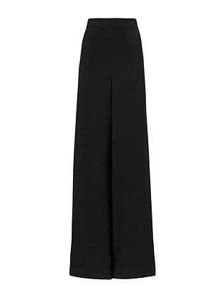 Wide-Leg Slit Crepe Pants: Black