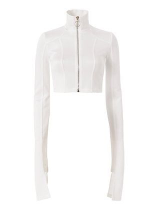 Off-White Crop Zip Jacket: White