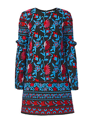 Tanya Taylor Irene Floral Embroidery Dress