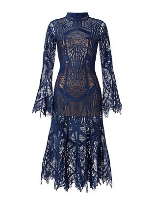 Jonathan Simkhai Runway Lace Trumpet Hem Dress