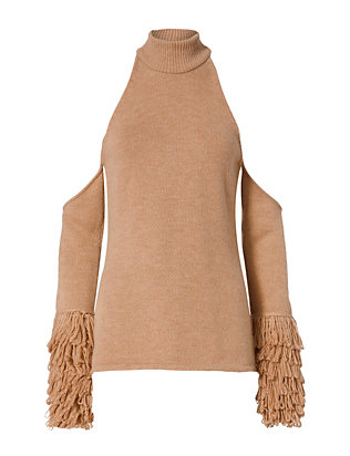 Jonathan Simkhai Cold Shoulder Loopy Yarn Sweater