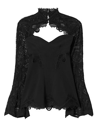 Lace Sleeve Top: Black