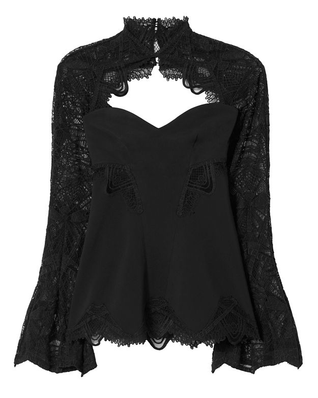 Jonathan Simkhai Lace Sleeve Top: Black