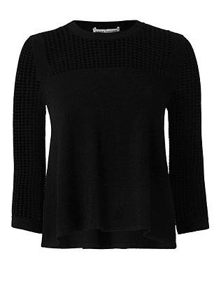 Autumn Cashmere Perforated Swing Top: Black