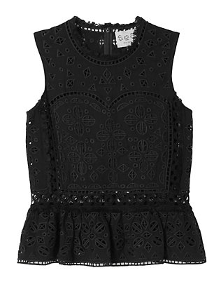 Sea Eyelet & Lace Top: Black
