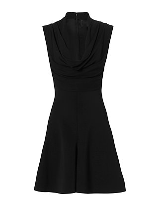Draped Neckline Dress: Black