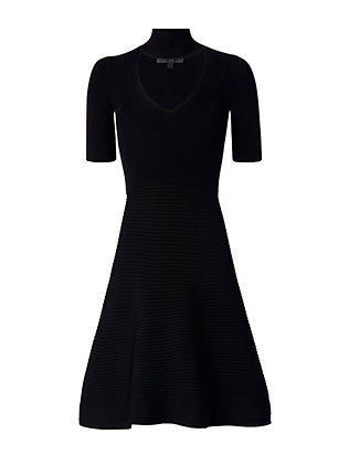 Cut Out Collar Dress: Black