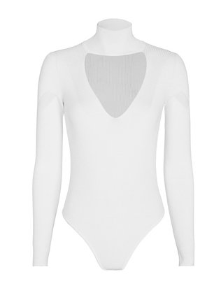 Cut Out Collar Bodysuit: White - FINAL SALE