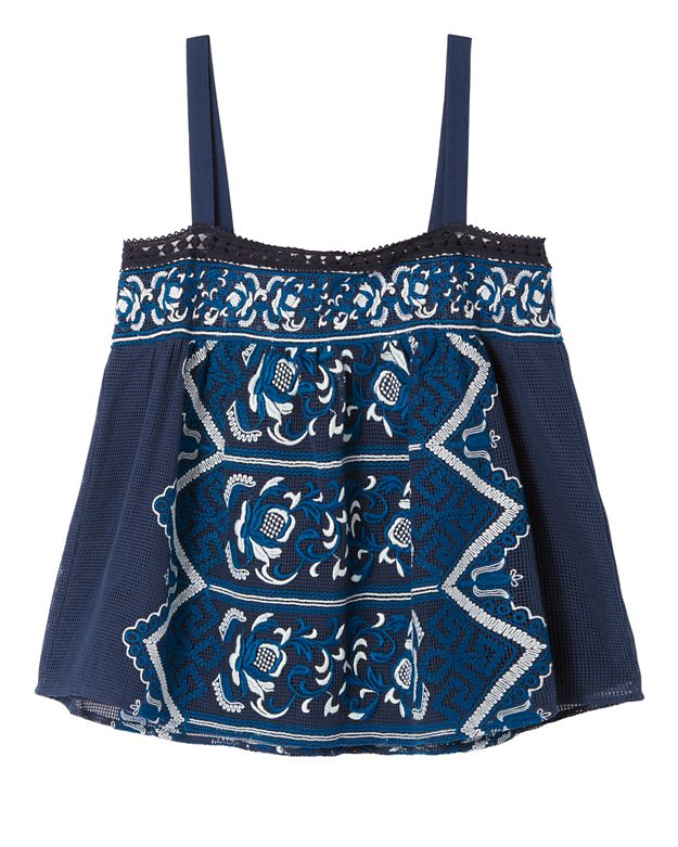 Sea Embroidered Tank: Navy